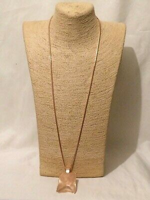 Womens Ladies Statement Chunky Long Big Large Beige Rose Gold Pendant Necklace