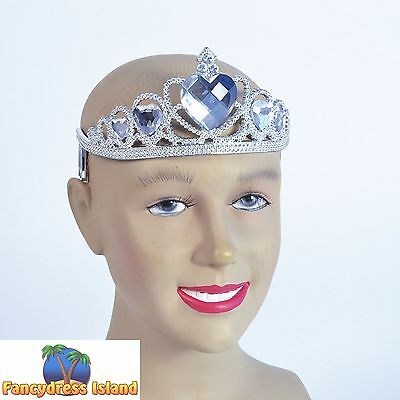 FAIRYTALE SILVER PLASTIC TIARA/CLEAR STONE Ladies Womens Fancy Dress Accessory