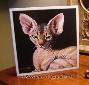 Devon-Rex-cat-kitten-painting-art-Birthday-card-original-design-Suzanne-Le-Good