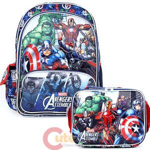 """Marvel Avengers Assemble Large 16"""" School Backpack Lunch Bag Set - Hero's"""