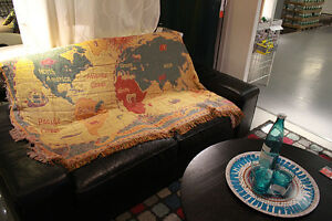 Throw rugs woven cotton sofa blanket world map vintage american image is loading throw rugs woven cotton sofa blanket world map gumiabroncs Choice Image
