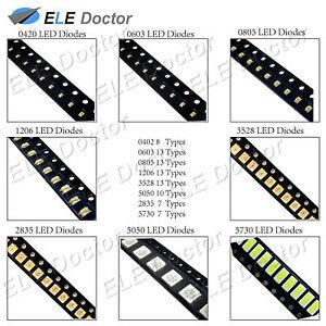0402-0603-0805-1206-1210-3528-5050-SMD-SMT-LED-Diodes-White-Red-Blue-Light-Bulb