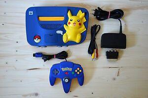 N64-Nintendo-64-Konsole-Pokemon-Pikachu-mit-Original-Controller