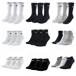 Nike-3-Pares-Calcetines-Hombre-Mujer-Crew-de-tobillo-no-show-Algodon-Sports-Gym-Running