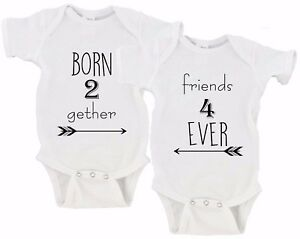 f620c5d7c Born Together Friends Forever Twin Set Baby Girls Boys Twins Onesies ...