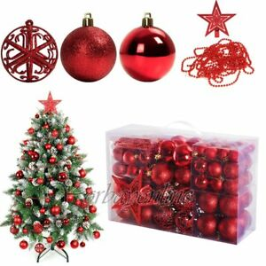 Christbaumkugeln Plastik Rot.Details Zu 84er Christbaumkugeln Weihnachtskugeln Set Ink Baumspitze Plastik Klein Rot