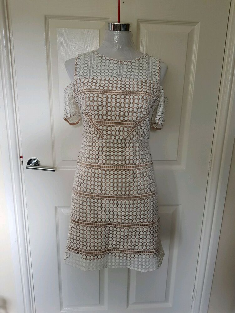 Bnwt Femme Topshop Petite Froid Épaule Crochet Manches Summer Party Net Robe