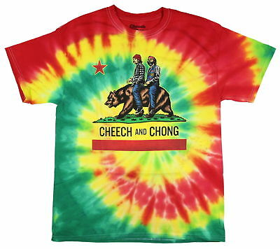 Authentic Cheech et Chong Men/'s California Bear Flag Licensed Tie Dye T-Shirt