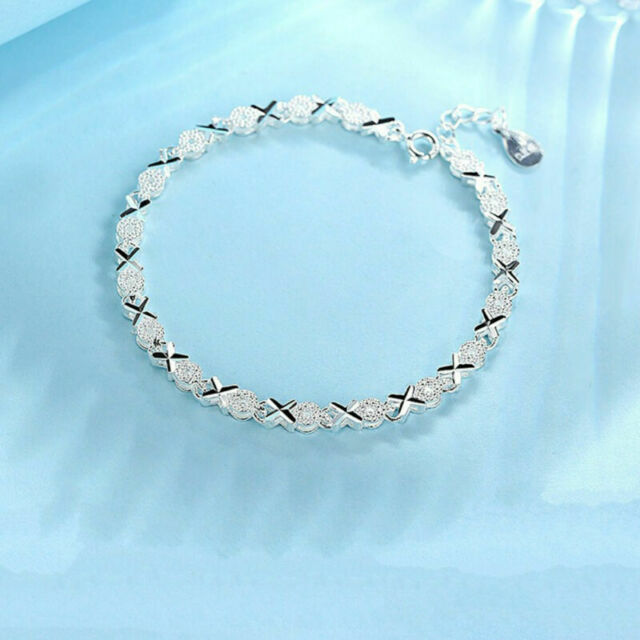 Women Solid Silver Bracelet 925 Roman Chain Crystal Bangle Wedding Jewelry Gifts