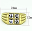 thumbnail 2 - Men's Gold Plated Cocktail Ring Sizes 8 10 14.5  Square Cubic Zirconia Fashion