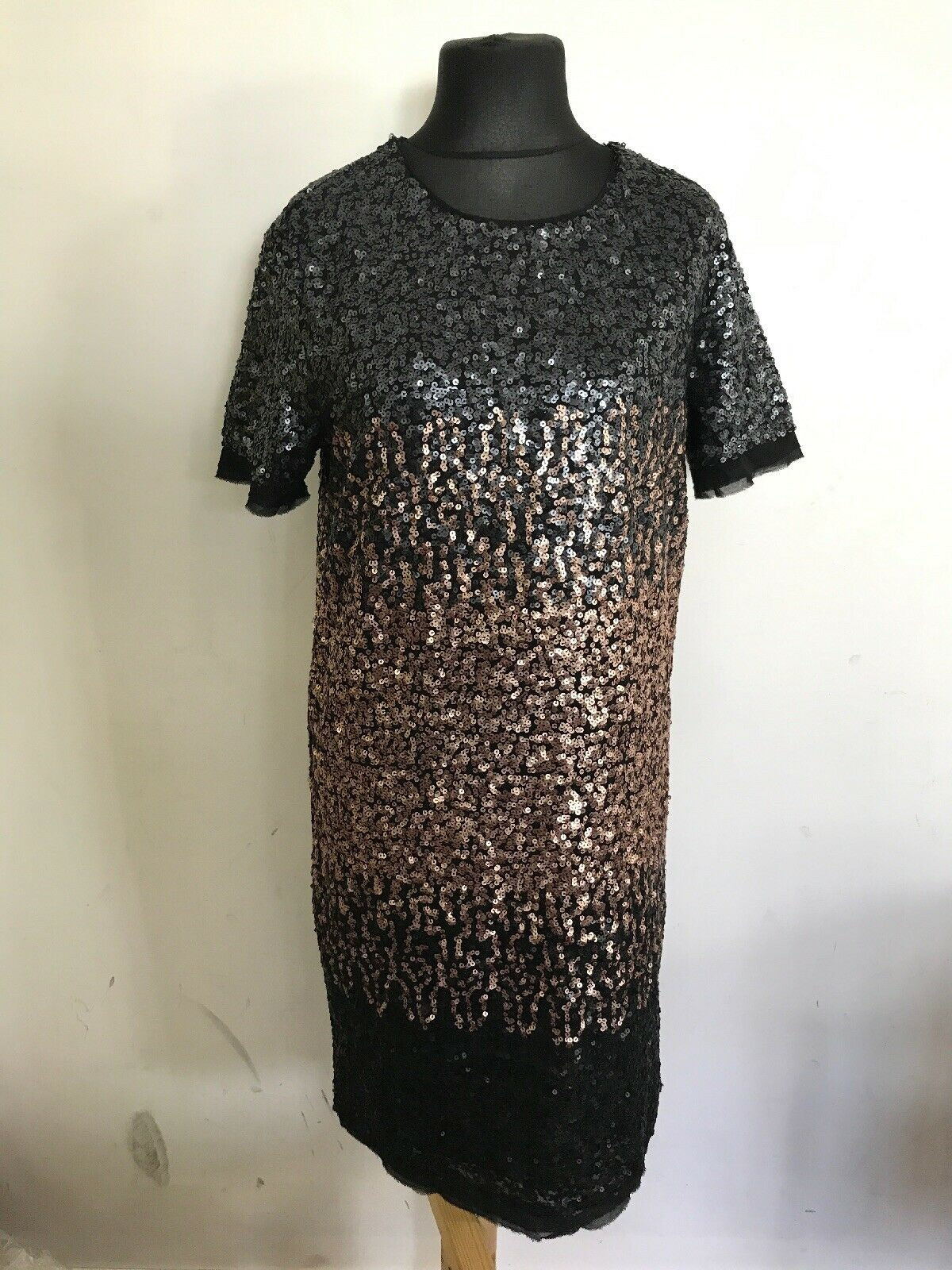 CL6Next damen Long schwarz Rosa Gold Sequined T Shirt Dress Größe T RRP