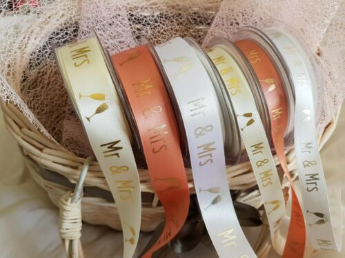 White Berisfords /'MR /& MRS/' D//Faced Satin Ribbon 15 /& 25mm Bridal /& Rose Gold