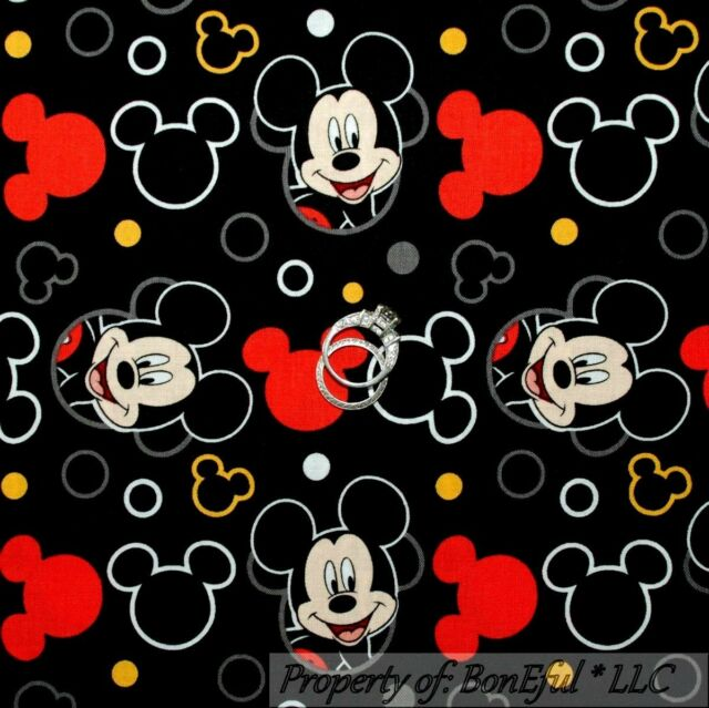 BonEful FABRIC Cotton Quilt Black Red Yellow Disney Mickey Mouse Head Dot SCRAP