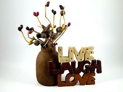 Live Laugh Love Miniature Bud Vase Figurine Country Decor Rustic 3 X5 Ebay