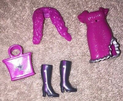Boots /& Bag Vintage Polly Pocket Outfit Pink Glittery Dress Wrap