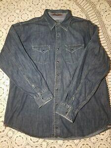 Timberland-Men-039-s-Size-XL-Long-Sleeve-Pearl-Snap-Blue-Denim-Button-Front-Shirt