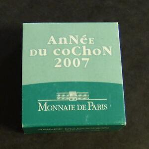 France-1-4-euro-2007-034-Annee-du-Cochon-034-PROOF-silver-90-22-2-g-CoA-Box