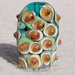 PISTACHIO Handmade Art Glass Focal Bead Flaming Fools Lampwork Art Glass SRA