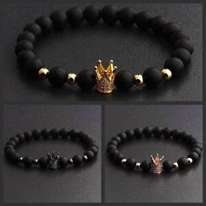 Gorgeous-Crown-Natural-Stone-Matte-Black-Charm-Men-039-s-CZ-Copper-Bead-Bracelet