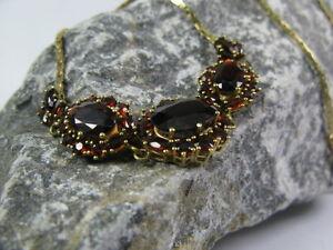 Granatcollier-Granat-Halskette-333-8kt-Gold-Gelbgold-Kette-Collier