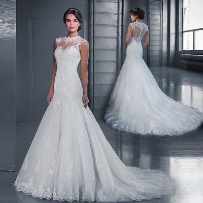 2020 White Ivory Lace Mermaid Wedding