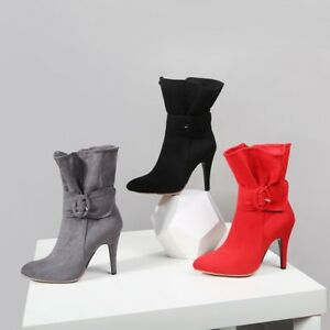 Womens-Suede-Ankle-Boots-Stilettos-High-Heels-Pointed-Toe-Side-Zipper-Chic-D269