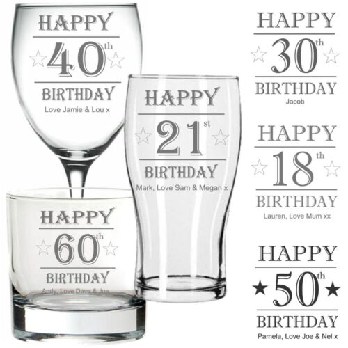 Personalised Engraved PINT GLASS WINE GLASS WHISKY Glass BIRTHDAY 40TH 60TH ANY
