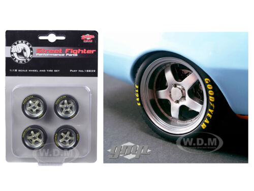 WHEELS /& TIRES SET OF 4 GULF OIL STREET FIGHTER CAMARO GOOD YEAR 1//18 GMP 18839