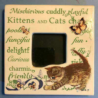 """Kitten and Butterfly//Phrases  6-3//8/""""square  Photo 2-1//2/""""square Cat Lover Frame"""