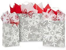 125 Winter Christmas Snowflakes Silver Holiday Paper Shopping Gift Bags Assort