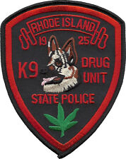 "Rhode Island State Police K9 Drug Unit Shoulder Patch  5"" tall by 4"" wide - NEW"
