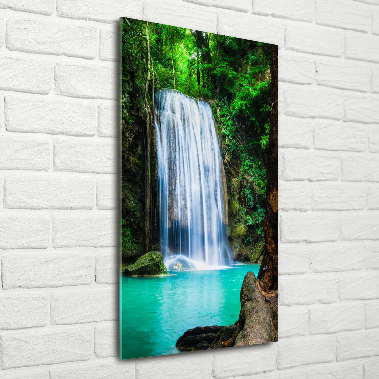 Wand-Bild Kunstdruck aus Acryl-Glas Hochformat 70x140 Wasserfall