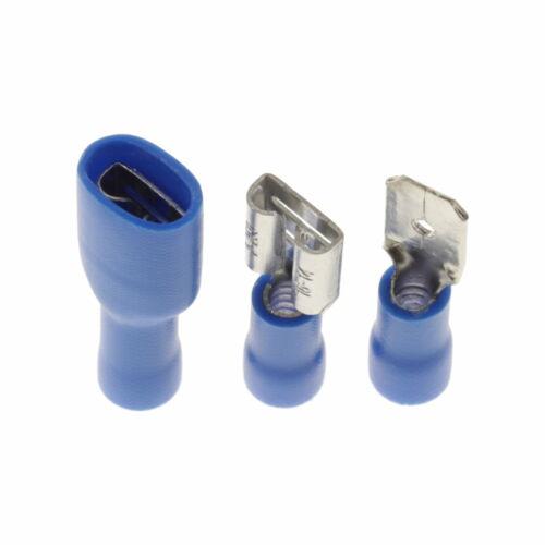 Blaue Flachsteckhülsen Vollisoliert Kabelschuh Kabel Steckverbinder 1.5-2.5 mm²