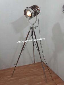 Designer-Nautical-Wooden-Spot-Light-Floor-Lamp-With-Tripod-Stand-Home-Decor