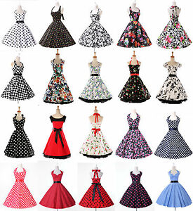 Women-50s-60s-Swing-Vintage-Retro-Floral-Housewife-Pinup-Cute-Party-Dress-Gown
