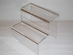 4 X CLEAR PERSPEX  DISPLAY STEPS 200X170X170