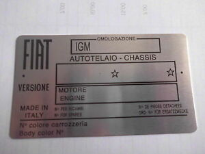 Nameplate Fiat id-plate IGM