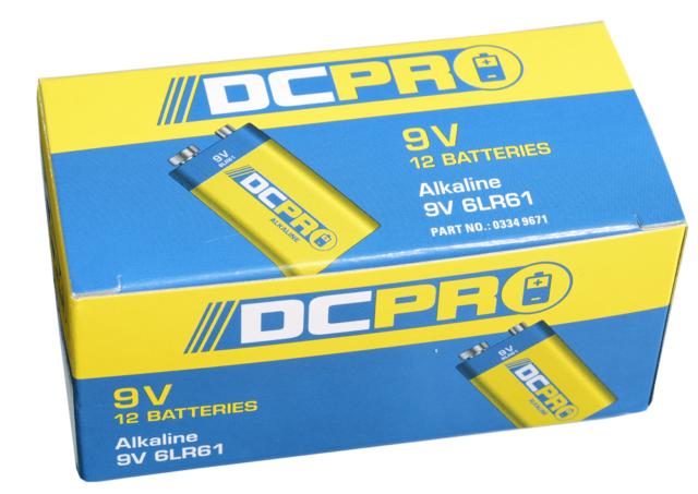 DCPRO ALKALINE BATTERIES 9V 6LR61 12Pieces, High Power & Performance
