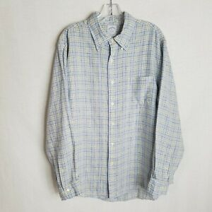 Brooks-Brothers-1818-Mens-Plaid-Irish-Linen-Button-Front-L-S-Shirt-Size-XL-TP702