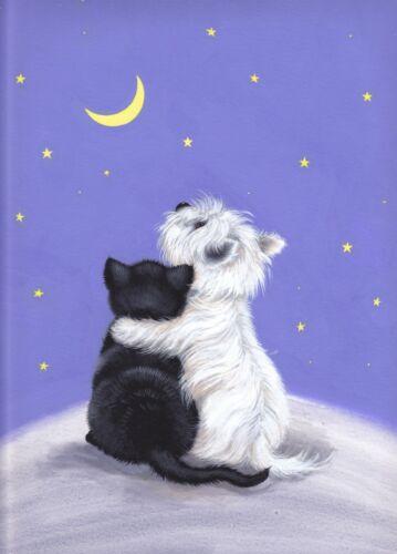 Dogs Westie /& Black Cat Ltd Edition fine Art Print //Original Painting S Barratt