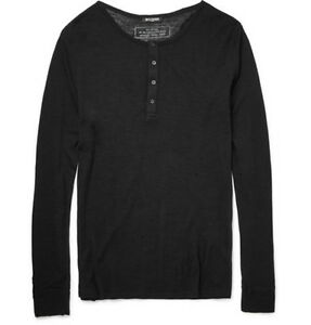 Authentic-New-Balmain-Paris-Henley-Tee-Pullover-Sweater-Knit-Wool-Black-L