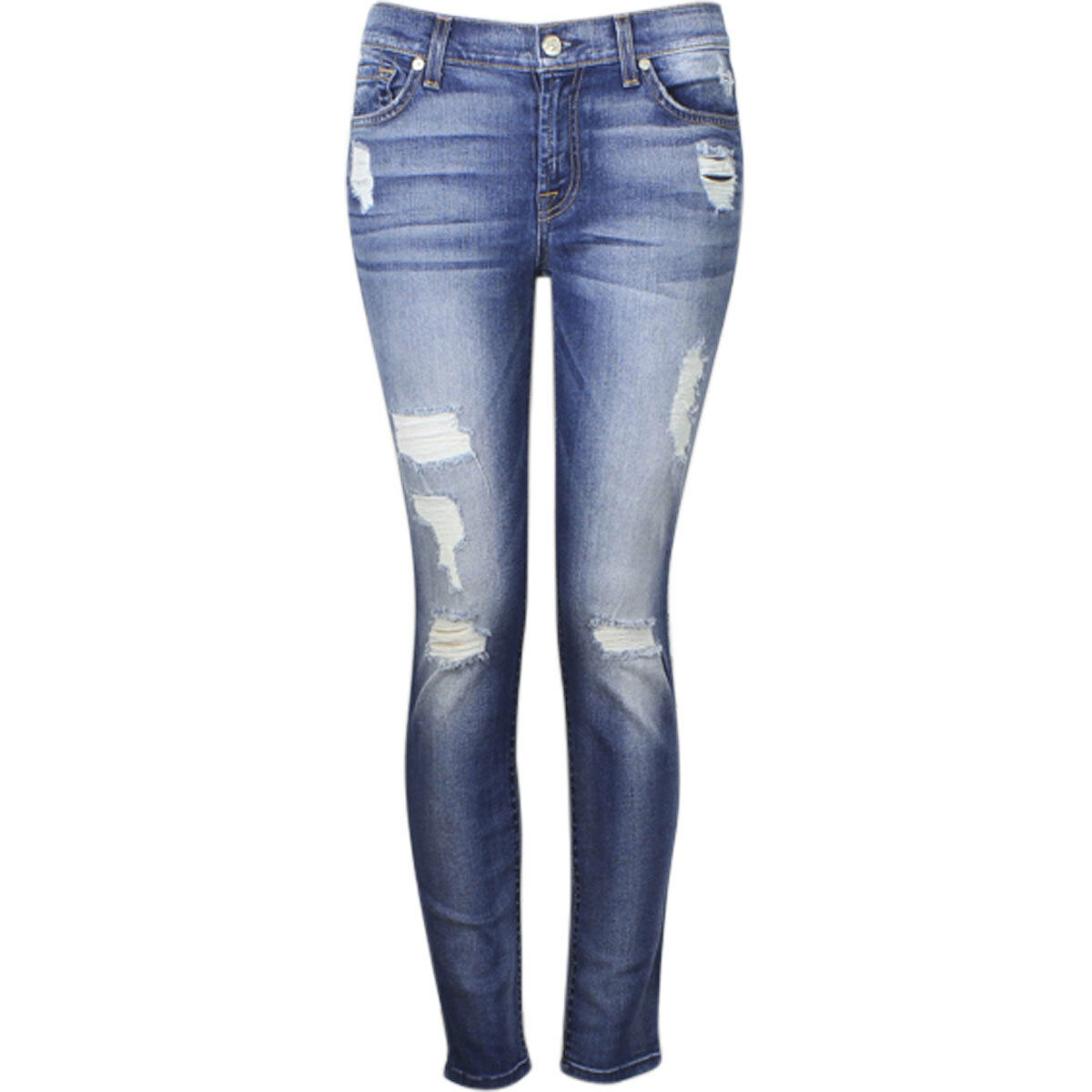 7 For All Mankind The Ankle Skinny With Destroy Distressed Light Jeans