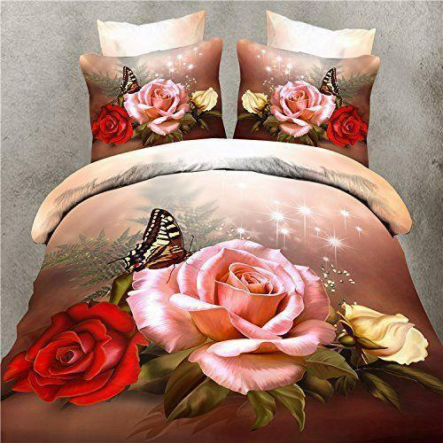 New 3D Butterfly pink print Bedding Set Cotton Queen Comfy Bedding Set 4PCS G951