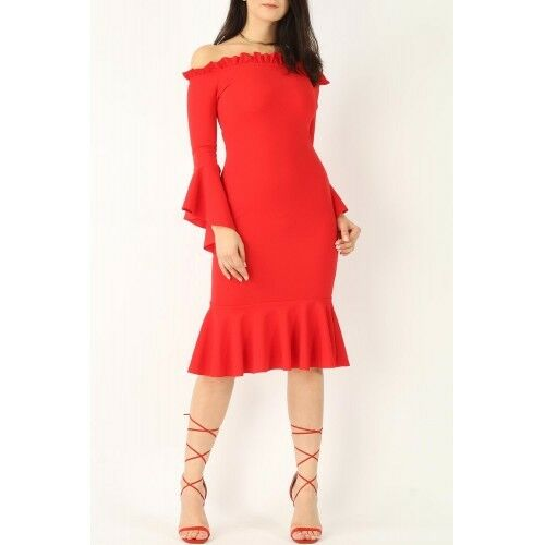 LADIES RED FLUTE SLEEVE BODYCON BARDOT COCKTAIL PARTY DRESS SIZES 8,10
