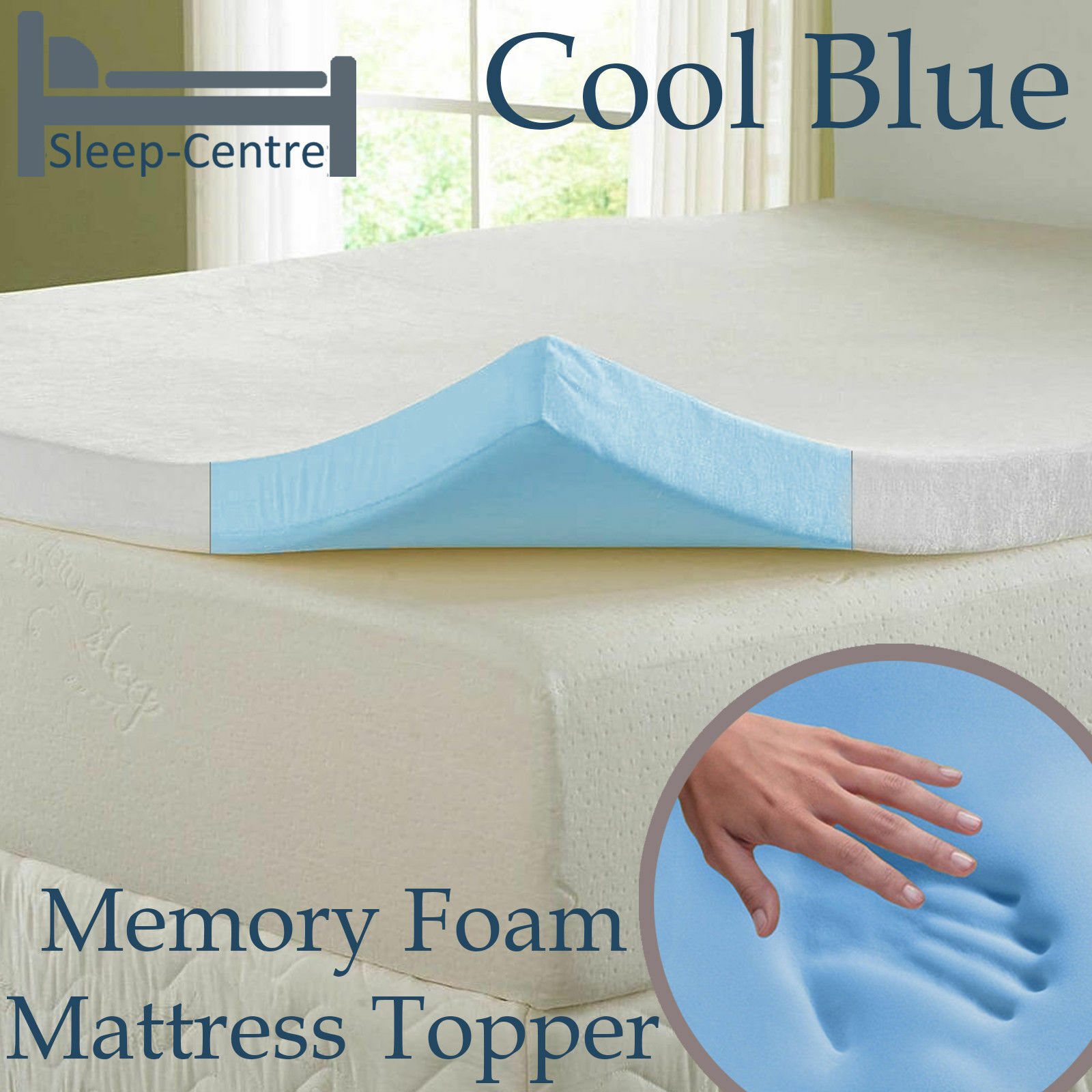 COOL Blau MEMORY FOAM TOPPER, ALL GrößeS,DEPTHS & StKunstseite OPTION. 1 ,2 ,3 ,4
