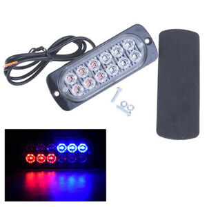 Details About Red Blue 12 Led Car Strobe Light Emergency Police Warning Lamp 18 Flash Mo Nh
