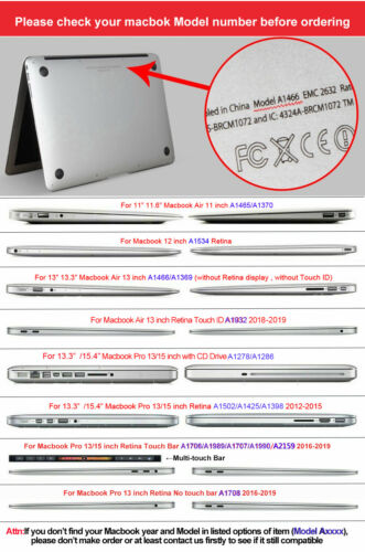 """Full body Cover Guard Protector For Macbook Air 11/"""" 13/"""" 13.3/"""" Pro 15/"""" 2012-2019"""