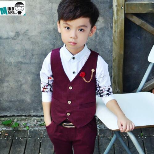 Kids Boys Plaid Waistcoat Suit Formal Party Prom Wedding Suits Page Boy Suit New