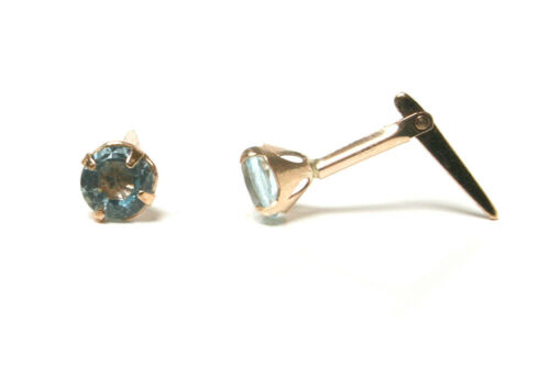 9ct Gold 3.5mm Blue Topaz Andralok Stud Earrings Gift Boxed Made in UK