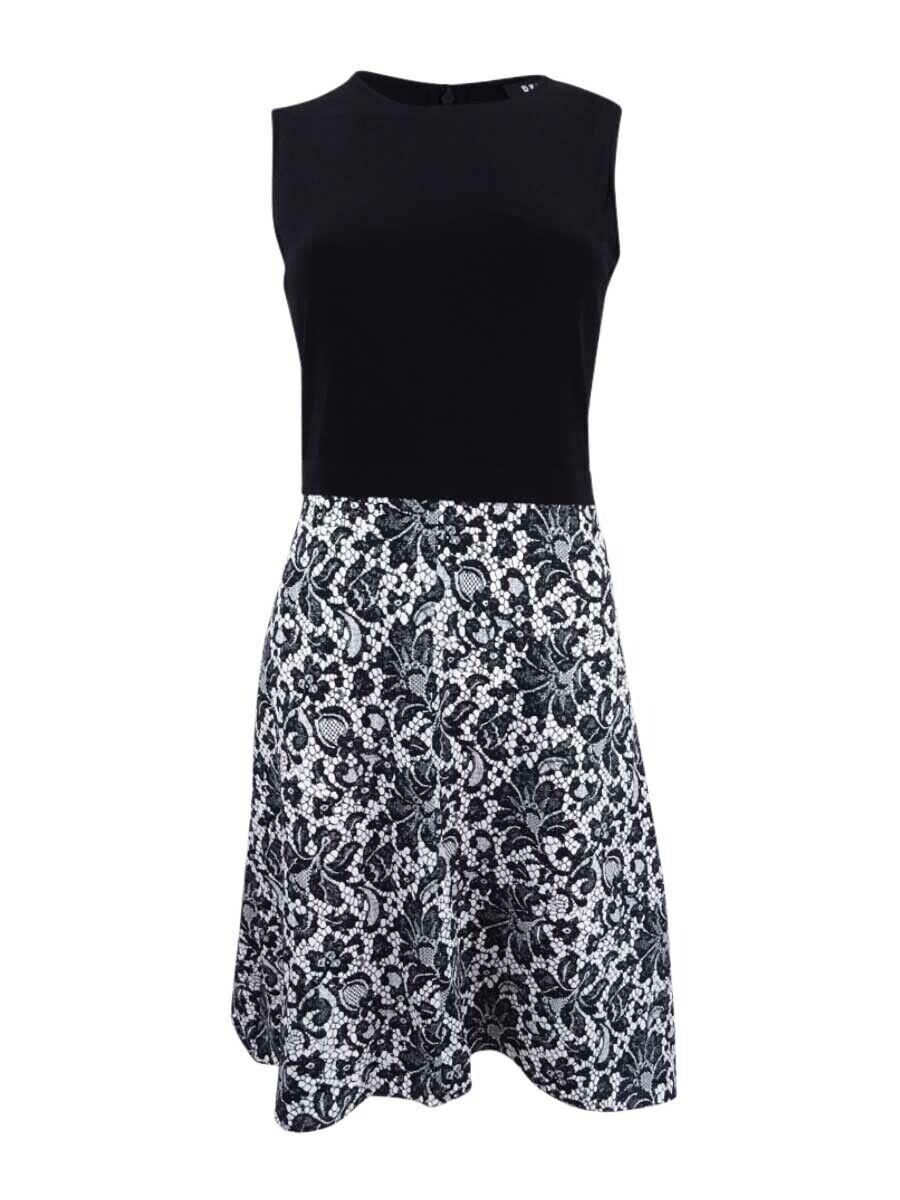 DKNY Women's Lace Print Combo Dress
